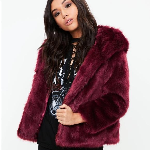 284034b9dc9 Missguided Jackets & Coats | Burgundy Faux Fur Coat In | Poshmark
